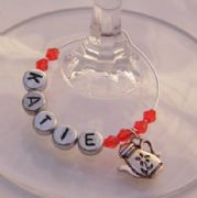 Tea Pot Personalised Wine Glass Charm